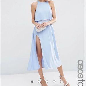 ASOS Tall crop top wrap split dress in pale blue